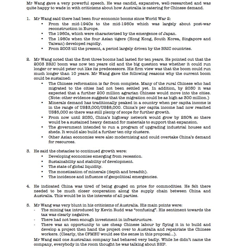 China Mining Association speech notes